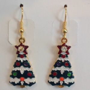 Christmas Tinsel Tree earrings